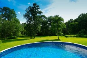 Above ground pool in spacious backyard